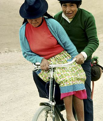 Bolivia. Near Potosi. Indian couple. riding to the market.