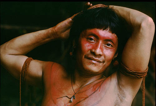 Brazil. Amazon rain forest. Yanomami Indian portrait 1