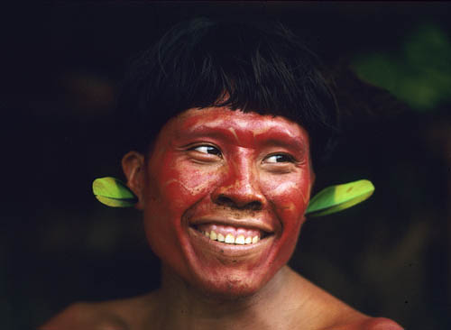 Brazil. Amazon rain forest. Yanomami Indian portrait 2