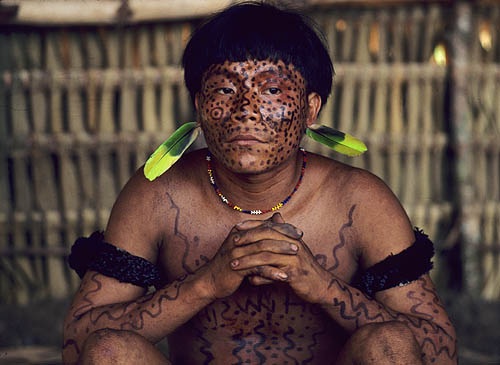 Brazil. Amazon rain forest. Yanomami Indian portrait 3.