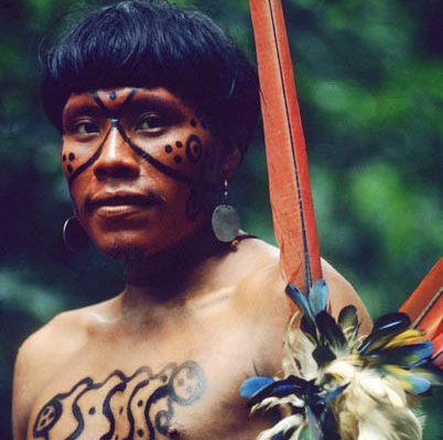 Brazil. Amazon rain forest. Yanomami indian portrait 4.