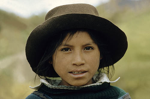 Ecuador. Near Otavalo. Otavalo Indian boy.