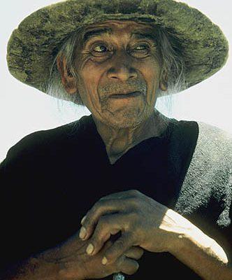 Ecuador. Saraguro (Loja). Saraguro Indian elder..