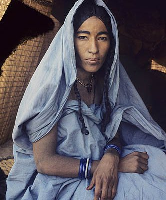 Niger Republic. Sahel. Tuareg nomad at the entrance of her tent.