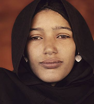 Niger Republic. Sahel. Tuareg woman under her leather tent.