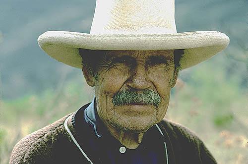 Peru. Uchucmarca (Cajamarca Province). Old mestizo farmer.