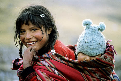 Peru. Cuzco Province between Paucartambo and Ocongate. Q'ero Indian siblings.